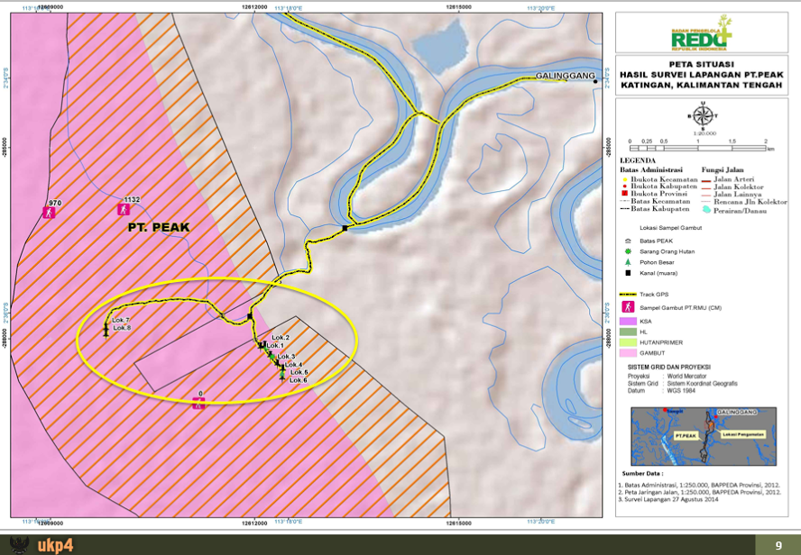 An image from the UKP4's August 2014 ground check of PEAK's concession shows the sample points overlaid with the concession area.