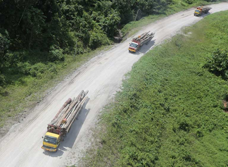 Logging trucks in Sabeh Borneo. The preservation of tropical forests is crucial to any plan to curb climate change. Photo by Rhett Butler