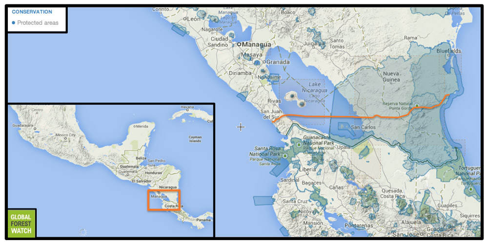Approximate canal route across southern Nicaragua, including Lake Nicaragua. Image from Global Forest Watch.