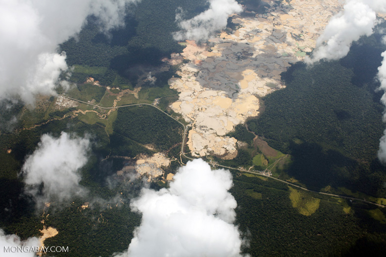 Massive open pit gold mine in the Peru's Madre de Dios department. Photo by Rhett Butler.