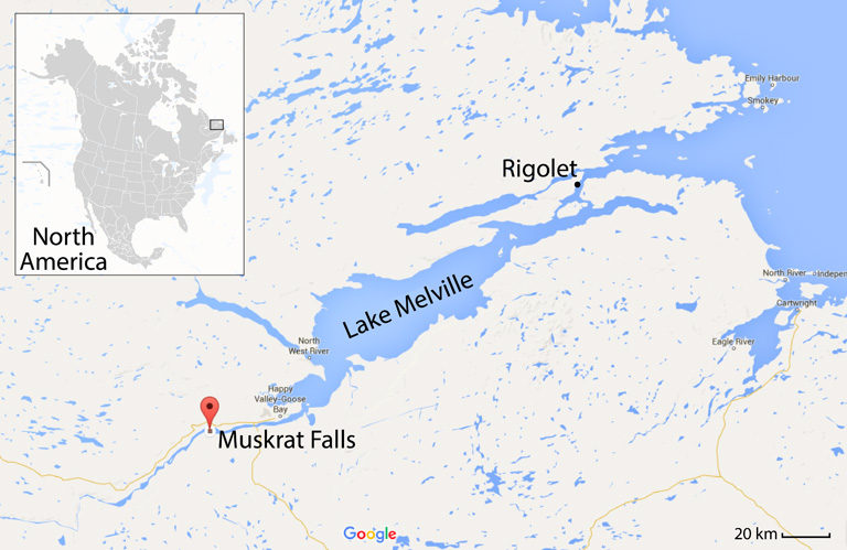 Map showing Lake Melville, on Canada's north Atlantic coast. The red marker indicates the site of the future hydroelectric dam at Muskrat Falls. Main map by Google, inset map of North America by Alex Covarrubias via Wikimedia Commons.