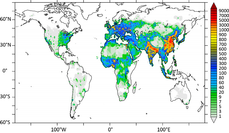 Global map of premature deaths linked to outdoor air pollution. Scale on the right shows numbers of projected deaths per 100 km × 100 km each year. Graphic courtesy of Jos Lelieveld.