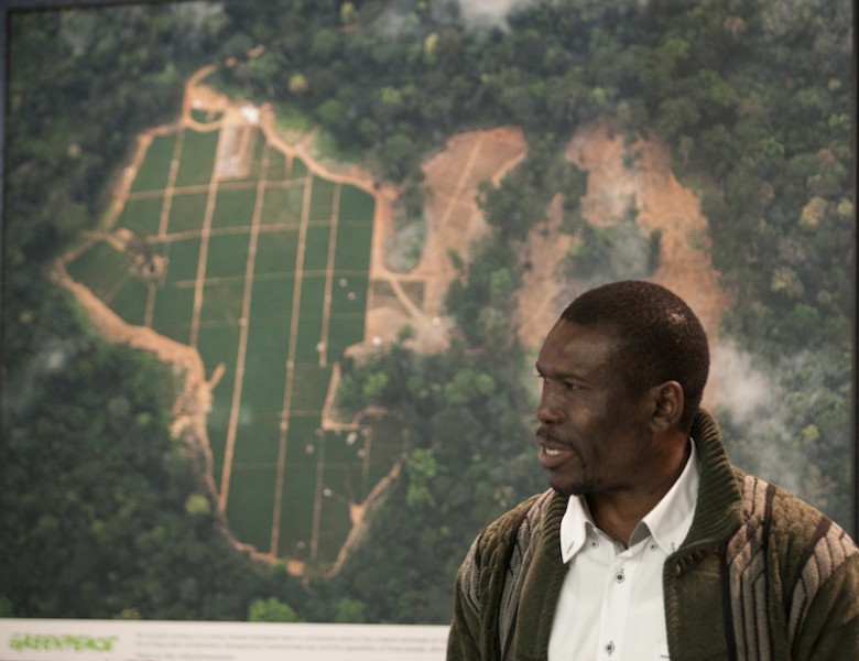 Nasako Besingi, director of the Cameroonian NGO, SEFE, speaks during a press briefing at the National Press Club about the impacts of the Herakles Farms Palm Oil plantation development on the community and environment in his native Cameroon. Photo courtesy of Greenpeace.