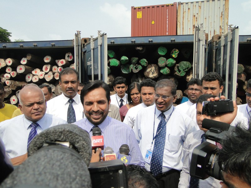 Rosewood seizure in Sri Lanka in 2014. Image courtesy of Sri Lanka Customs.