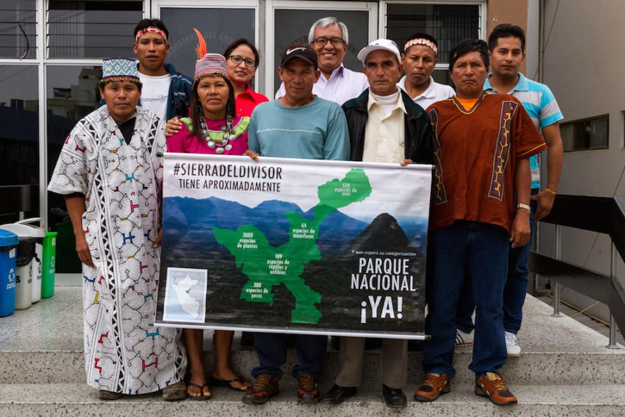 A group campaigning for Sierra del Divisor National Park, including Pedro Gamboa, Chief of SERNANP. Photo by Miguel Garces - CEDIA.