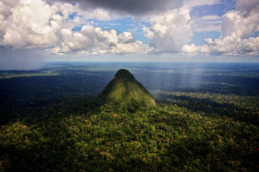 """El Cono,"" an extinct volcanic cone, is the symbol of Sierra del Divisor, representing the area's unique unique geology and largely unexplored landscape. Photo by Diego Perez."