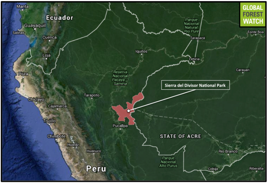 Sierra del Divisor National Park comprises 1.3 million hectares and lies on Peru's eastern border with Brazil.