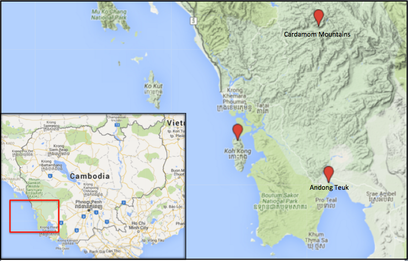 Google map shows Koh Kong province in Cambodia.
