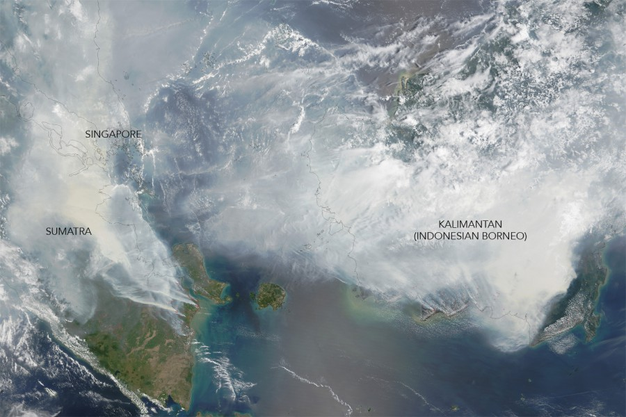 "Image taken September 24 from the Moderate Resolution Imaging Spectroradiometer (MODIS) on NASA's Terra satellite shows the ""haze"" as its peak. Red outlines indicate hot spots where the sensor detected unusually warm surface temperatures associated with fires. Thick gray smoke hovers over both islands and has triggered air quality alerts and health warnings in Indonesia and neighboring countries. Visibility has plummeted. NASA image by Adam Voiland (NASA Earth Observatory) and Jeff Schmaltz (LANCE MODIS Rapid Response). Caption by Adam Voiland."