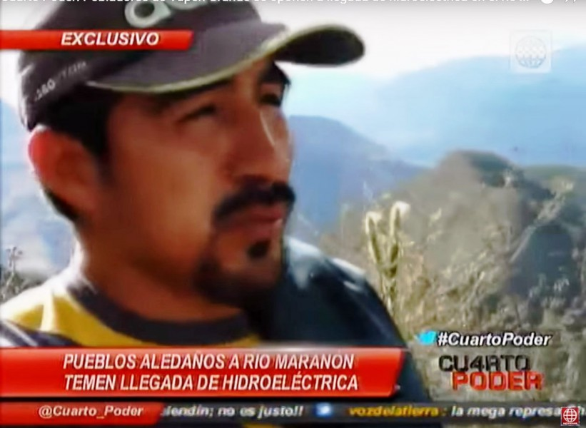Still from video by Peru's news program Cuarto Poder, featuring Hitler Ananías Rojas Gonzales' activism.