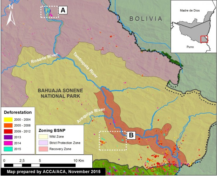 Deforestation between 2000 and 2015 within the southwestern portion of Bahuaja Sonene National Park. Image courtesy of MAAP.