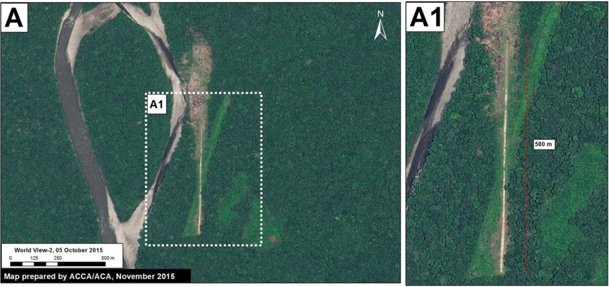 Satellite imagery of the new landing strip inside Bahuaja Sonene National Park. Image courtesy of MAAP.