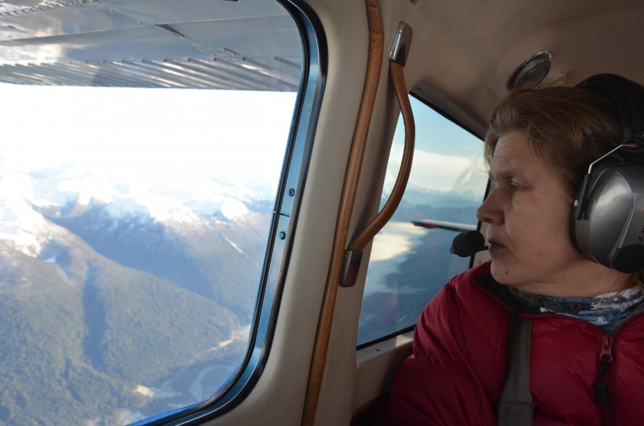 Vreni Haussermann surveying the coast of southern Chile for dead sei whales. Photo by Vreni Haussermann.