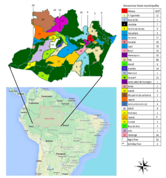 Number of specimens of bird seized by IBAMA per municipality. between 1992 and 2011 in the state of Amazonas. From Rodrigues do Nascimento et al, 2015.