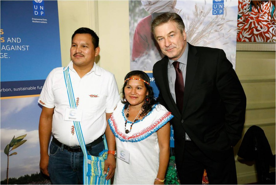 Nicolas Cartagena (left) and Ruth Chuqui (center) of the Tacana Indigenous Council accept the prestigious Equator Prize (presented by actor Alec Baldwin) at a recent ceremony at the 2015 Paris Climate Conference. Credit: Getty Images for UNDP.