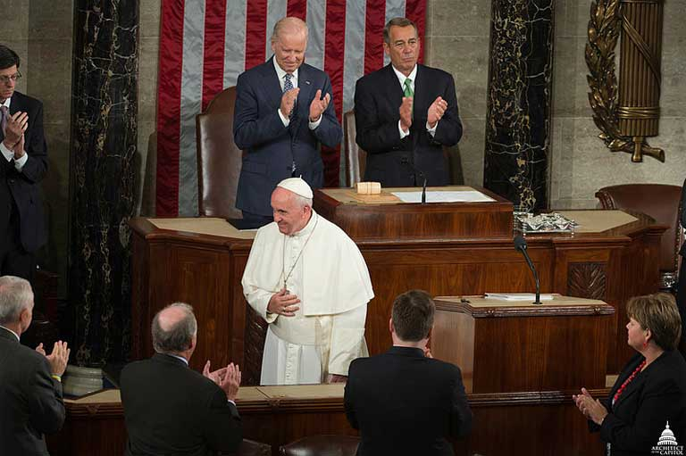 Pope Francis speaks to the US Congress, a body that has strongly resisted passing climate change legislation. Photo courtesy of the US Capitol