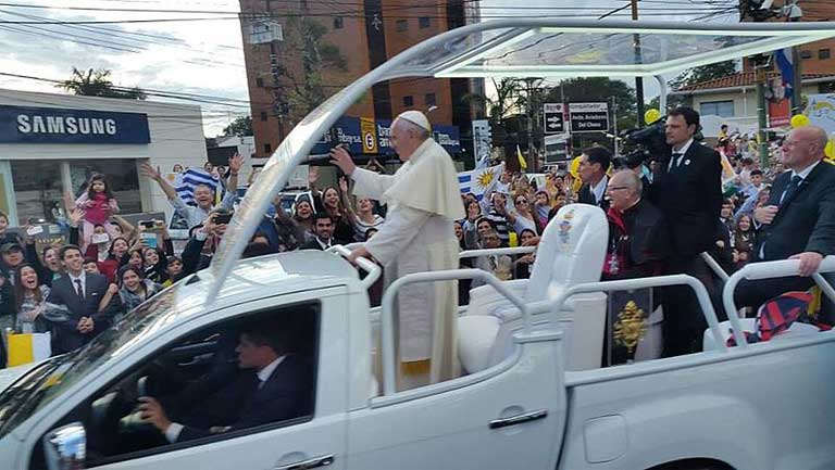 Pope Francis, one of the most popular leaders on the world stage, in Paraguay this summer. The Pope's tour of South America focused on his climate change and environment encyclical. Photo by Hazaña17 licensed under the Creative Commons Attribution-Share Alike 4.0 International license