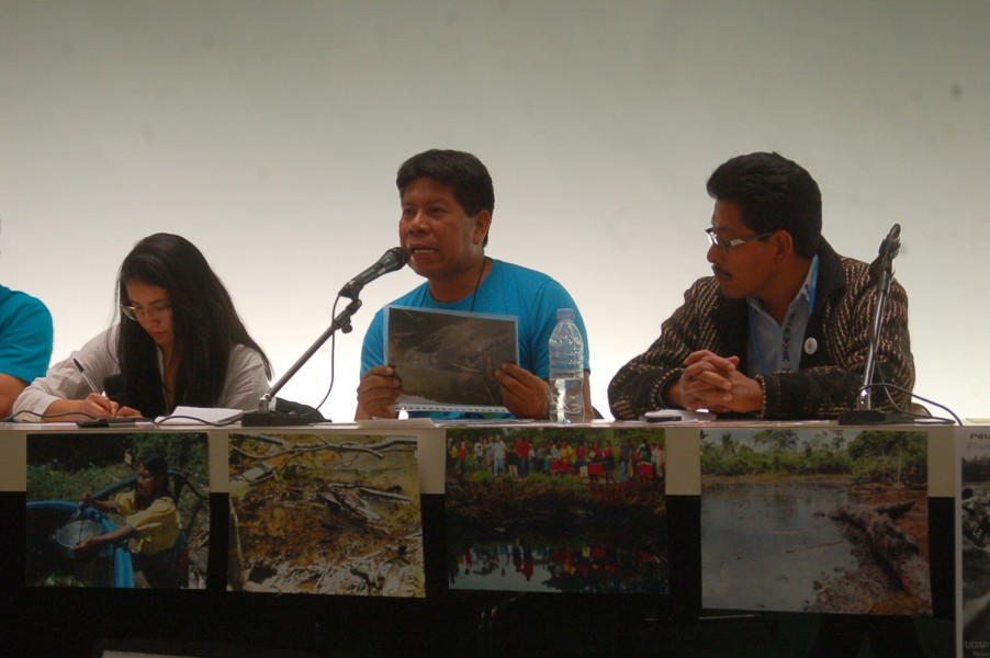 Humberto Piaguaje, of the Secoya people, spoke in Paris on behalf of five tribes and campesinos in Ecuador, about the pollution caused by Chevron/Texaco. Photo by Karen Hoffmann.