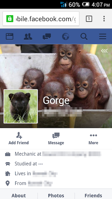 The Facebook account that bears Gorge's full name and promotes his live animal pipeline in a notably unsubtle way. Photo is a screenshot from Facebook.