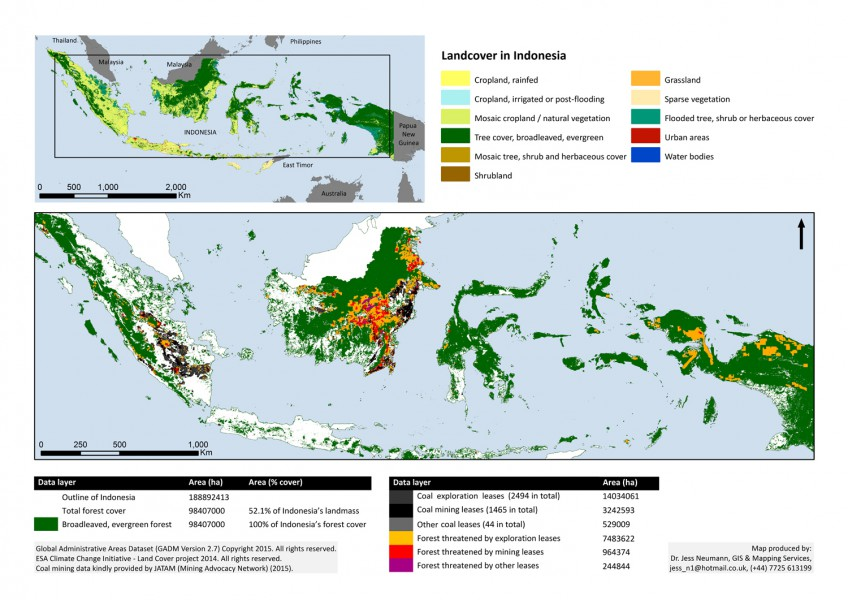 Indonesia coal mines and forest