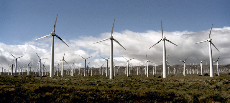 Wind turbines in the Mojave desert, photo courtesy of stock.xchng.