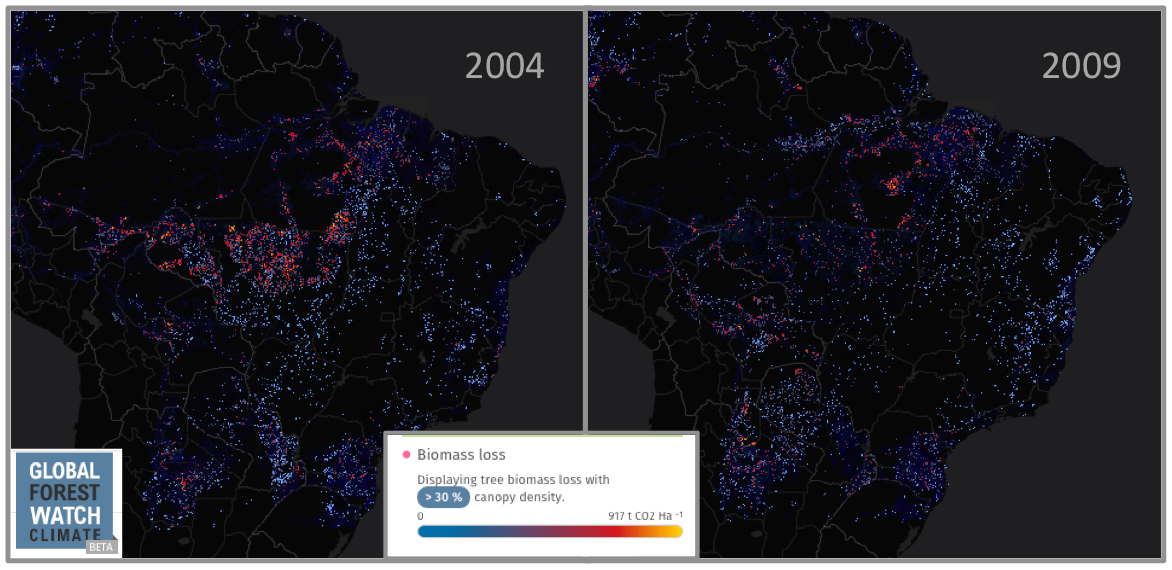 Tree cover loss (above) and resultant carbon emissions (below) in Brazil changed considerably between 2004 and 2009 due to improved land use regulation.
