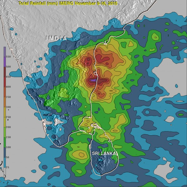 An analysis of rainfall data from Nov. 9 to 16, 2015 showed up to 550 mm (21.7 inches) of rain drenched India's southeastern coast in the state of Tamil Nadu. Over 200 mm (7.9 inches) fell in large areas of southeastern India and northern Sri Lanka. Credits: NASA/JAXA/Hal Pierce