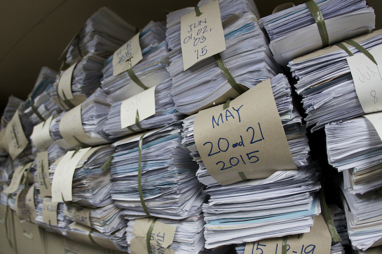 Philippine Bureau of Fisheries and Aquatic Resources export paperwork stored in paper form in Manila. Photo by Ret Talbot.