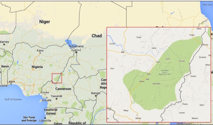 Map shows the location of Nigeria's Gashaka-Gumti National Park. Images courtesy of Google Maps.