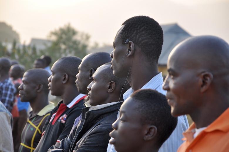 Spectators watch a football match organized by the Gashaka Biodiversity Project last February in Serti, Nigeria, where Gashaka-Gumti National Park's headquarters are located. Photo by Lawal Sani Kona.