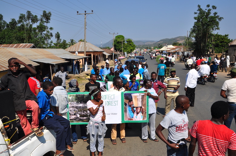 Local youths participate in the Gashaka Biodiversity Project's march in Serti last February. Photo by Lawal Sani Kona.