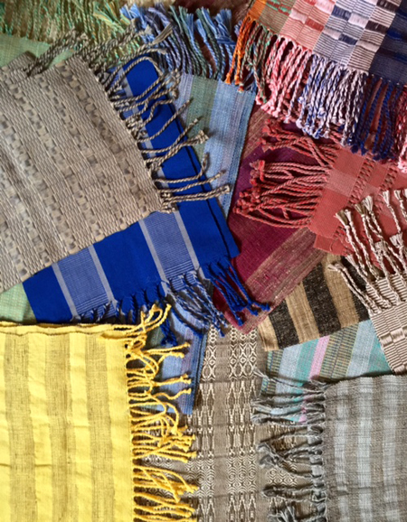 Scarves from the Famiova Weaving Cooperative. Photo by Diane Powers.