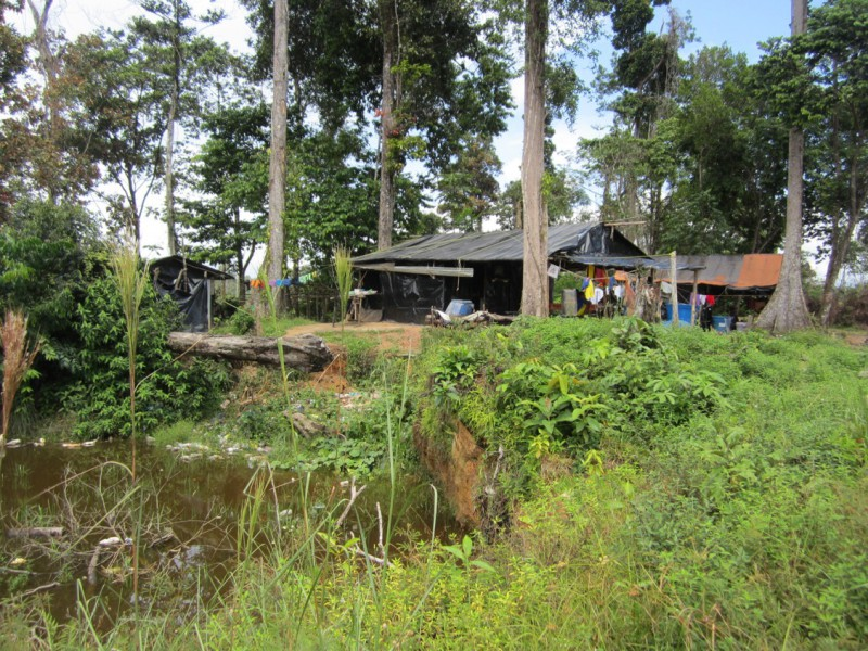A mining settlement next to an abandoned pit, now a mosquito breeding area. Photo courtesy of Ana Gisela Pérez.