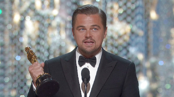 Leonardo DiCaprio accepts the Oscar for Best Actor at the 88th Annual Academy Awards in Hollywood, California. Courtesy of the Academy Awards.