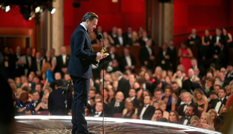 Leonardo DiCaprio accepts the Oscar for Best Actor at the 88th Annual Academy Awards at Dolby Theatre on February 28, 2016 in Hollywood, California. Courtesy of the Academy Awards.