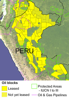 Oil and gas blocks in the western Amazon. Solid yellow indicates blocks already leased out to companies. Hashed yellow indicates proposed blocks or blocks still in the negotiation phase. Protected areas shown are those considered strictly protected by the IUCN (categories I to III). Image modified from Finer M, Jenkins CN, Pimm SL, Keane B, Ross C, 2008 Oil and Gas Projects in the Western Amazon: Threats to Wilderness, Biodiversity, and Indigenous Peoples. PLoS ONE 3(8): e2932. doi:10.1371/journal.pone.0002932