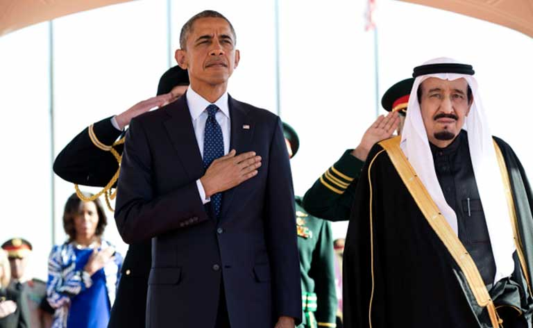 President Obama and King Salman of Saudia Arabia stand at attention during the U.S. national anthem on the president's visit in January 2015. Official White House Photo by Pete Souza