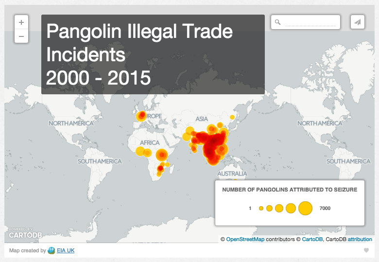 Map of pangolin illegal trade incidents from 2000 to 2015. Image from EIA (https://eia-international.org/mapping-crime-a-resource-for-world-pangolin-day)