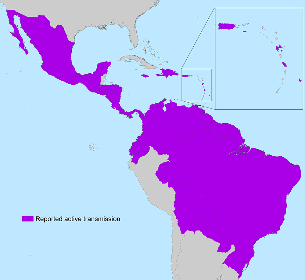 Countries and Territories in the Americas with Active Zika Virus Transmission. Courtesy of the CDC.
