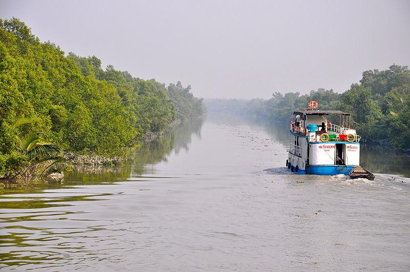 A boat chugs along a river through the Sundarbans. Photo by Fabian Lambeck via Wikimedia Commons (CC 4.0).