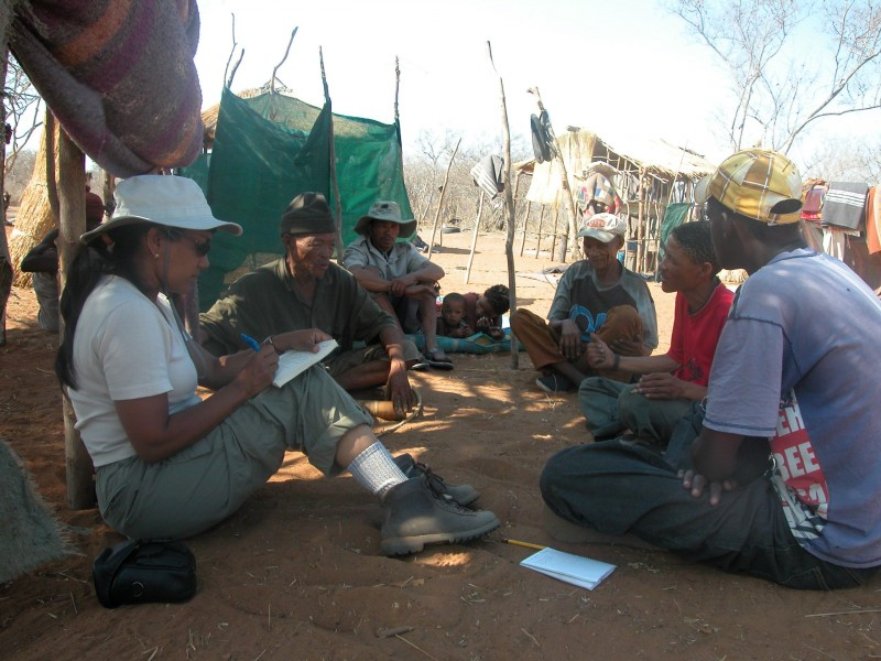 Chaboo interviewing San hunters in Namibia. Photo by H. Vollbrecht.