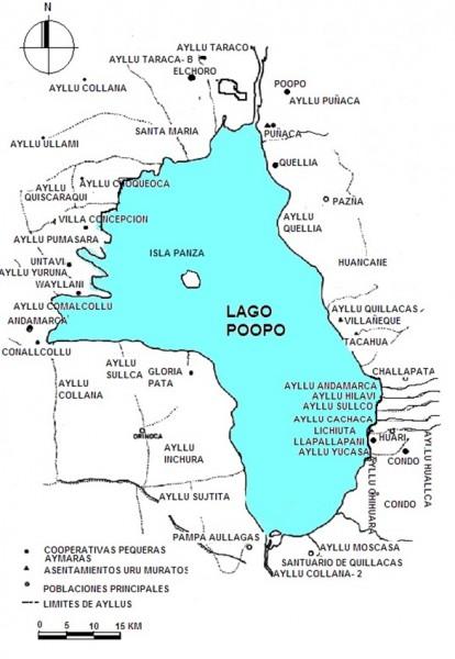 Comunidades y cooperativas pesqueras en el Lago Poopó. Fuente: Miranda-Moricio.