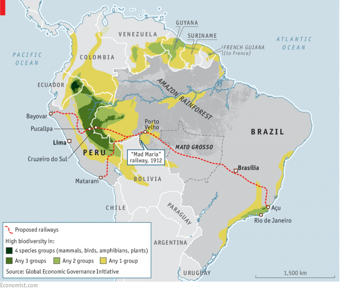 A map showing the proposed railway across the Amazon. Courtesy of The Economist.