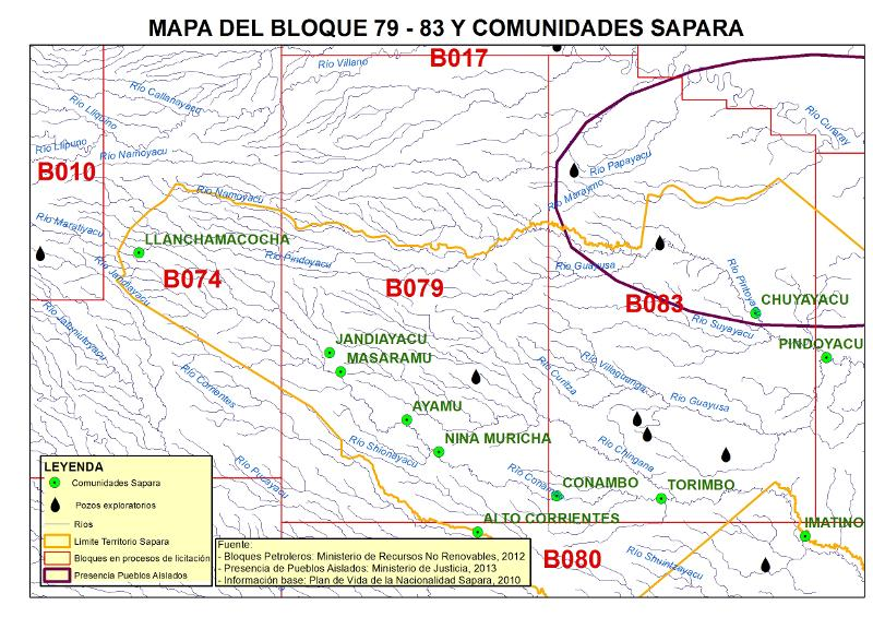 Oil blocks 79 and 83 in Sápara territory. Mapa courtesy of Amazon Watch.