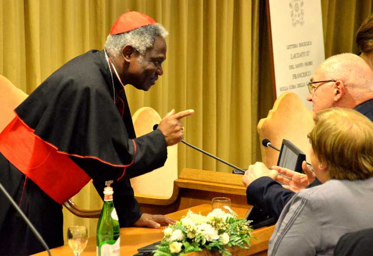 Cardinal Peter Turkson prior to the June 17, 2015 press conference at the Vatican, which introduced Pope Francis' climate change encyclical, Laudato Si, On Care for Our Common Home. The document was timed to positively influence the outcome of December's Paris climate talks. Photo courtesy of the Vatican.