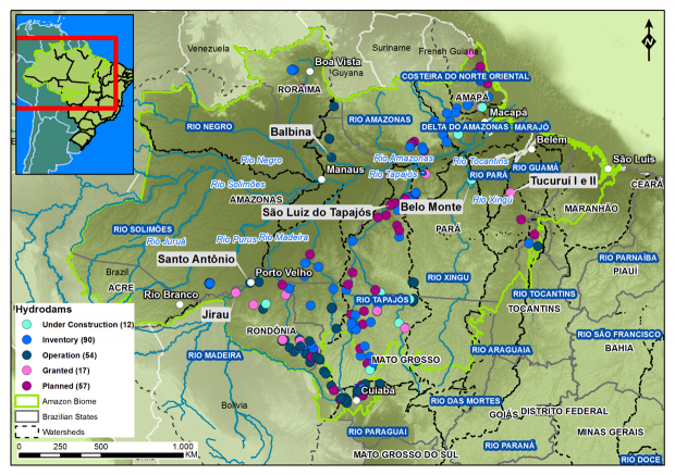 Existing and planned dams in the Amazon. Map courtesy of Greenpeace