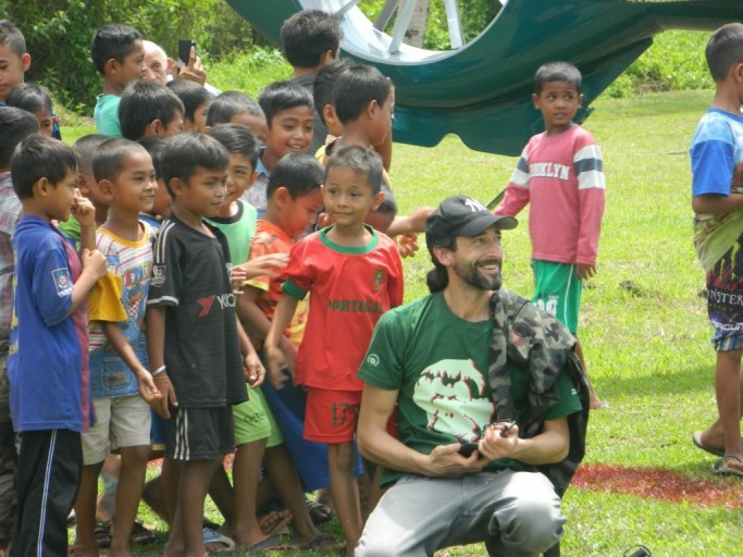Adrian Brody with children in the park. Photo courtesy of the Gunung Leuser National Park administration