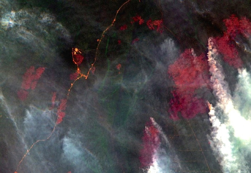 A satellite image captured February 4 shows burned areas and smoke billowing from active fires. Image source: COPERNICUS DATA (2016) / ESA.