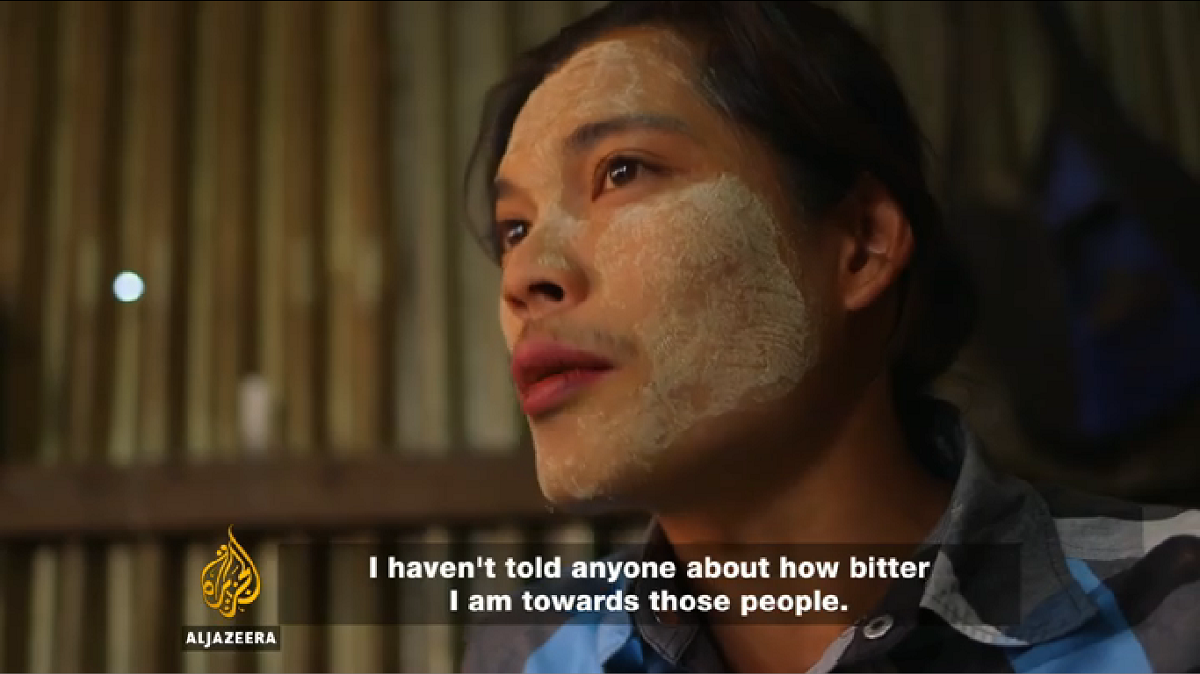 """This man was repatriated five months ago but has yet to receive his promised compensation. He is living with family in Yangon and working odd jobs to survive. """"I haven't told anyone about all these things, because whenever I recount it my heart aches,"""" he said. Image courtesy of Al Jazeera"""