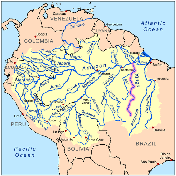 Map showing the Xingu River. Created by Kmusser licensed under the Creative Commons Attribution-Share Alike 3.0 Unported license 13